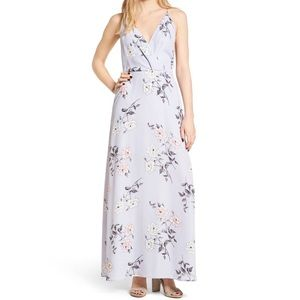 Lush Surplice Maxi Dress Pale Lilac Floral